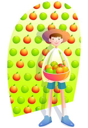 digitally enhanced or generated: Representation of a boy carrying basket full of fruits LANG_EVOIMAGES