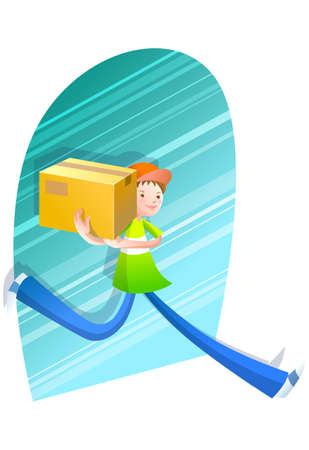 carrying box: Representation of boy carrying box on shoulders LANG_EVOIMAGES
