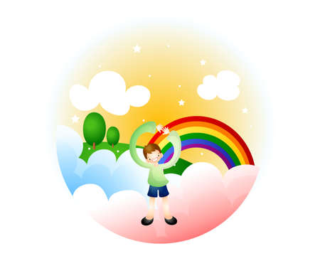 puerile: Representation of a boy standing with rainbow in background