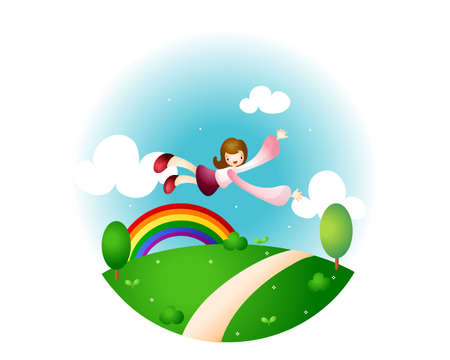 puerile: Representation of a girl flying with rainbow in background
