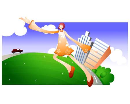 urbanized: Representation of a woman flying