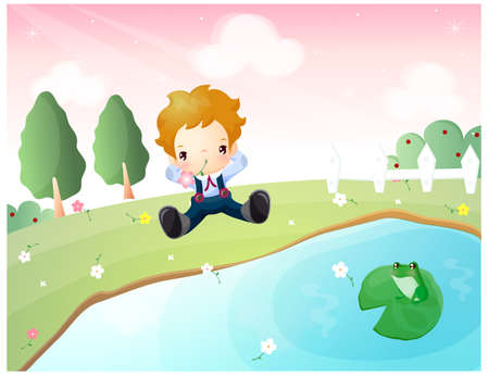 puerile: Representation of boy sitting in park