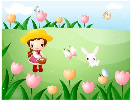puerile: Representation of girl picking flowers LANG_EVOIMAGES
