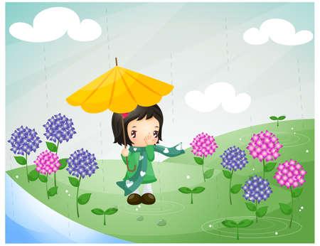 puerile: Representation of girl under umbrella in rain