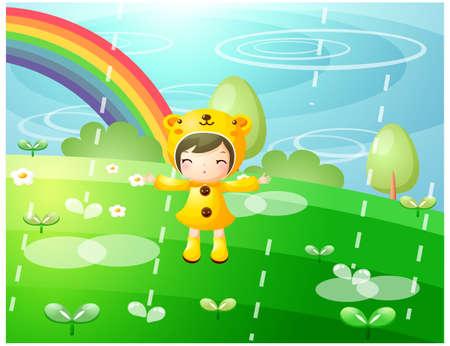 sotto la pioggia: Rappresentazione della ragazza in piedi sotto la pioggia LANG_EVOIMAGES