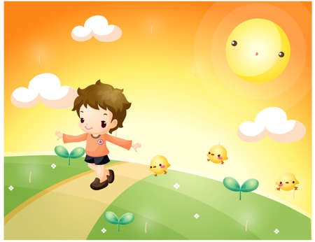 puerile: Representation of boy playing under the sun