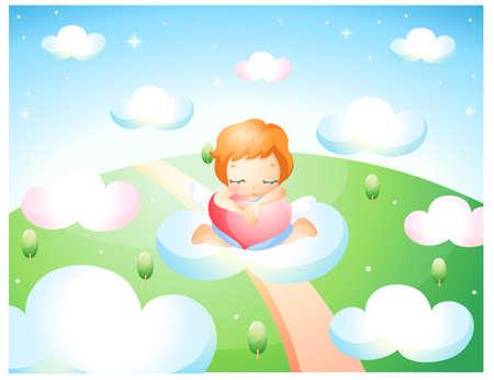 puerile: Representation of girl sitting on cloud LANG_EVOIMAGES
