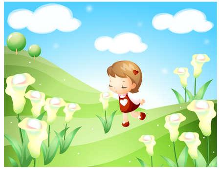 puerile: Representation of girl smelling tulip in park LANG_EVOIMAGES