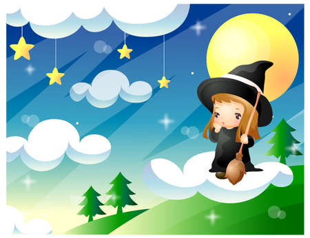 puerile: Representation of witch girl standing on cloud holding broom LANG_EVOIMAGES