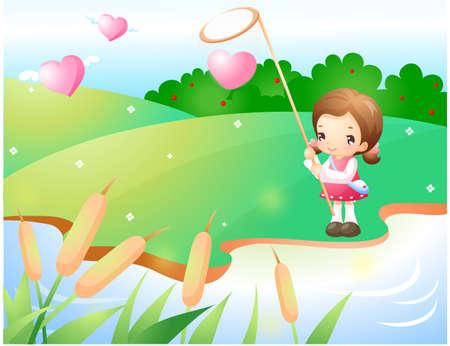 puerile: Representation of girl holding butterfly net