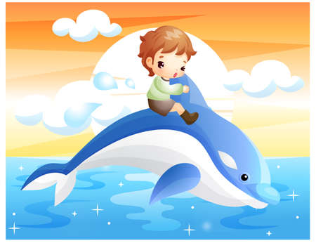 puerile: Representation of boy riding on dolphin