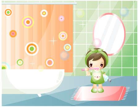 enhanced healthy: Representation of girl brushing teeth in bathroom