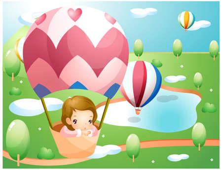 puerile: Representation of girl in hot air balloon