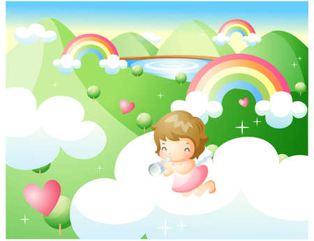 puerile: Representation of girl in clouds blowing horn LANG_EVOIMAGES