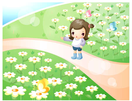 joyfulness: Representation of girl standing in garden LANG_EVOIMAGES