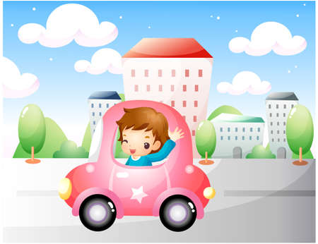 puerile: Representation of boy waving from car
