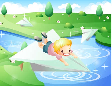 puerile: Representation of boy riding on paper airplane