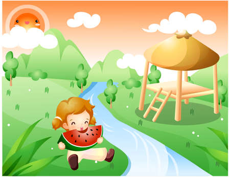 enhanced healthy: Representation of girl eating watermelon by river LANG_EVOIMAGES