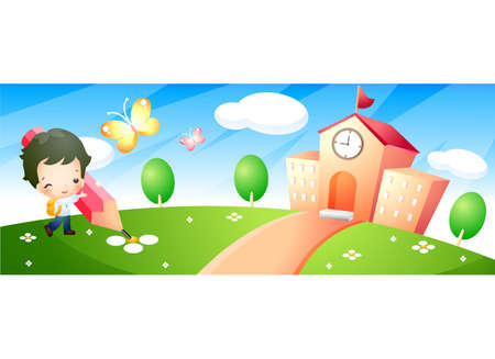 leisureliness: Representation of a boy holding pencil