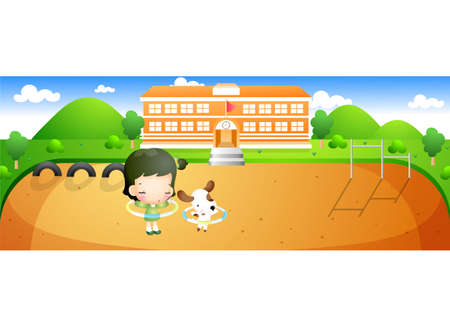 leisureliness: Representation of a girl with dog playing in front of school