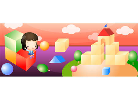 leisureliness: Representation of a boy playing with building blocks