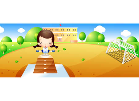 leisureliness: Representation of a girl playing in ground LANG_EVOIMAGES