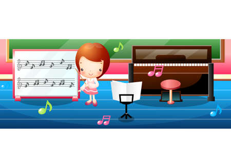 leisureliness: Representation of a girl standing by board with musical notes