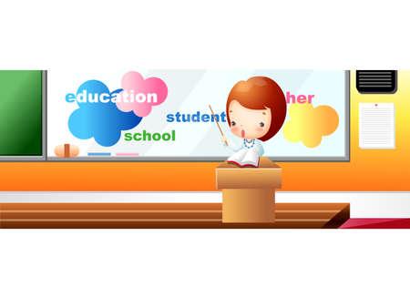 western script: Representation of a girl teaching in classroom
