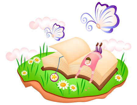 puerile: Representation of boy lying on book in garden LANG_EVOIMAGES
