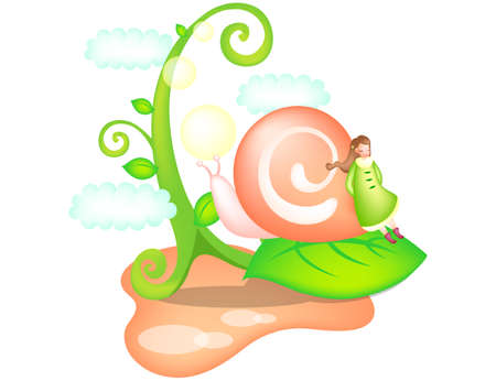 digitally enhanced or generated: Representation of girl leaning on snail