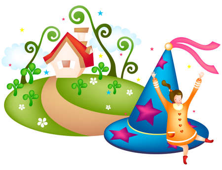 puerile: Representation of girl with party hat and house in background LANG_EVOIMAGES