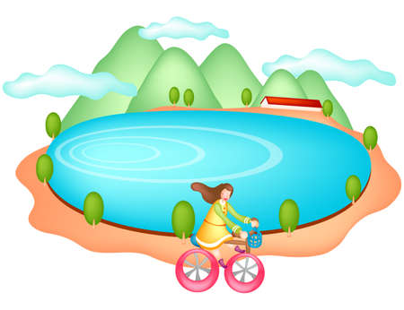 digitally enhanced or generated: Representation of girl riding cycle by lake