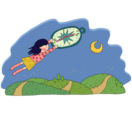 digitally enhanced or generated: Representation of a girl flying with compass