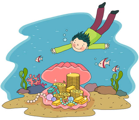 digitally enhanced or generated: Representation of a boy underwater with shell and gold coins