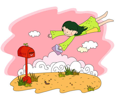 digitally enhanced or generated: Representation of a girl flying with postcard