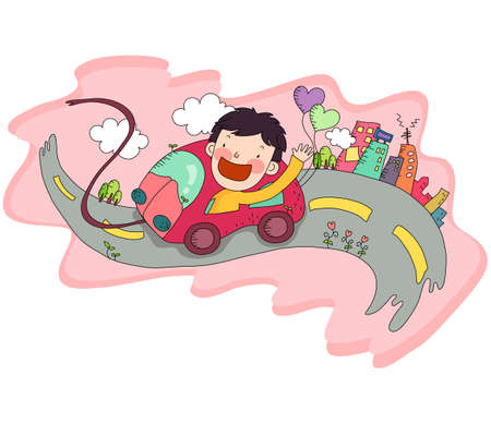 digitally enhanced or generated: Representation of a boy traveling in car