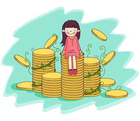 digitally enhanced or generated: Representation of a girl sitting stack of coins LANG_EVOIMAGES