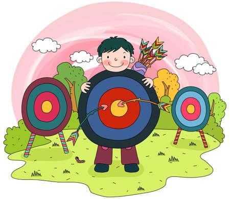 enhanced: Representation of a boy holding dart