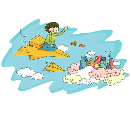 digitally enhanced or generated: Representation of a boy on paper airplane
