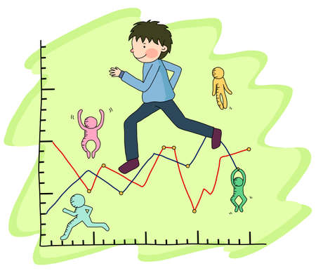 digitally enhanced or generated: Representation of a boy running on graph report LANG_EVOIMAGES