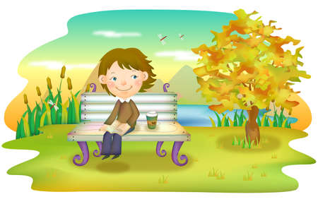 digitally enhanced or generated: Representation of boy sitting on bench with book