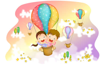 digitally enhanced or generated: Representation of boy and girl in hot air balloon LANG_EVOIMAGES