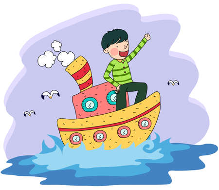 digitally enhanced or generated: Representation of a boy sailing in boat