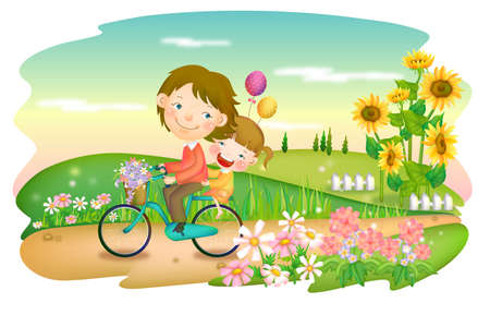 puerile: Representation of father and daughter riding on cycle