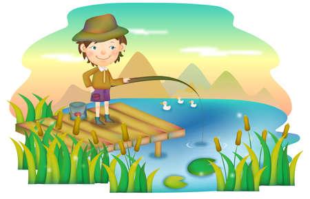 leisureliness: Representation of boy fishing on river bank