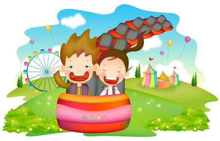 leisureliness: Representation of boy and girl in roller coaster