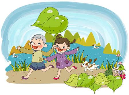 puerile: Representation of children running on road