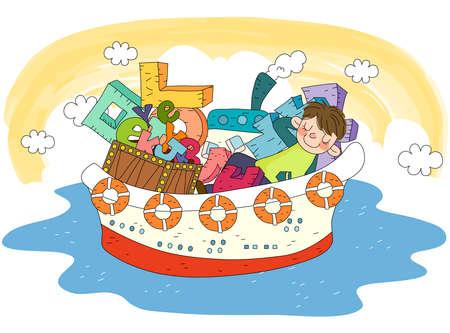 puerile: Representation of boy sleeping on boat