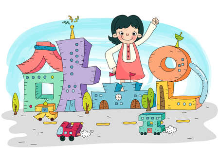 urbanized: Representation of girl smiling with arms raised