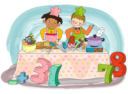 puerile: Representation of kids cooking in kitchen